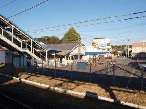 ホームから見た駅舎。